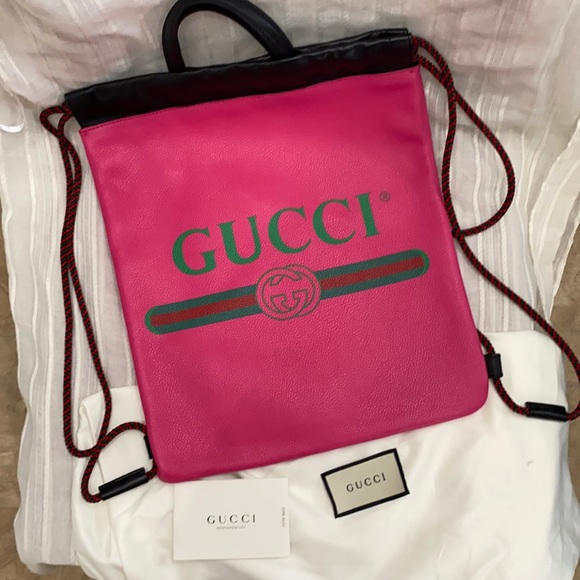 Authentic Gucci leather drawstring backpack